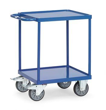 Tischwagen mit Stahlblechwanne Ladefläche 600x600 mm mit 2 Böden