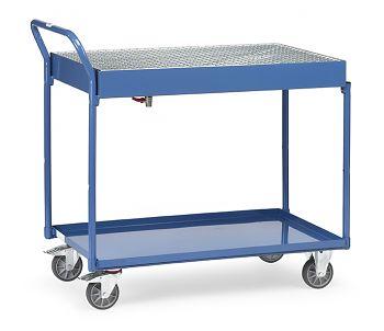 Tischwagen mit Gitterrost, Auffangwanne, Ablaßhahn