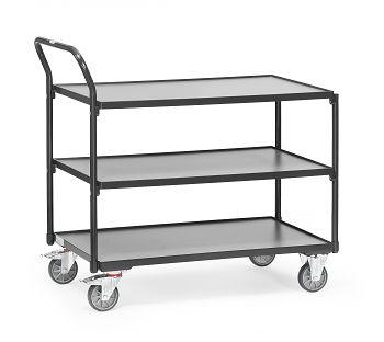 Tischwagen mit 3 Böden,Tragkr. 300 kg Ladefläche LxB: 1000 x 600 mm