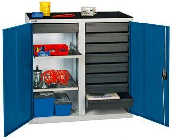 Werkzeugschrank lichtgrau/ enzianblau H 1000 x B 1000 x T 500 mm