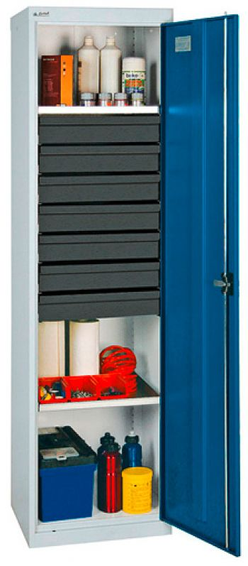Universalschrank-Säule, lichtgrau- enzianblau H 1800 x B 500 x T 500 mm