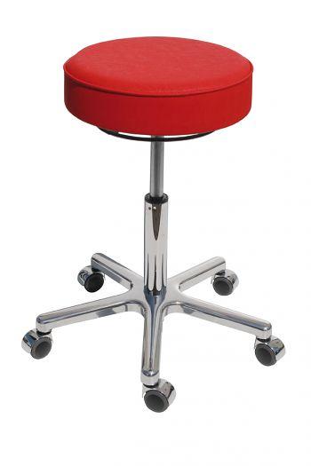 Drehhocker Sitz Kunstleder rot, Gestell verchromt, 520-720 mm