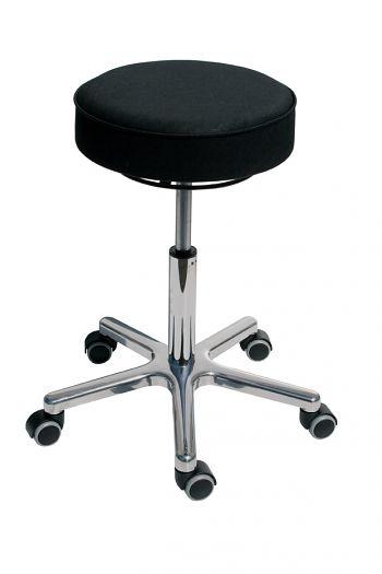 Drehhocker Sitz Kunstleder schwarz, Gestell verchromt, 520-720 mm