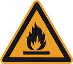 Warnschild PVC-Folie 200 mm Warnung vor feuergefährlich...