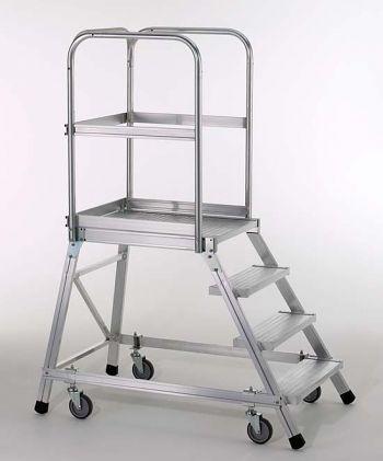 Podestleiter,fahrbar,einseitig begehbar,Leichtmetall-Stufen