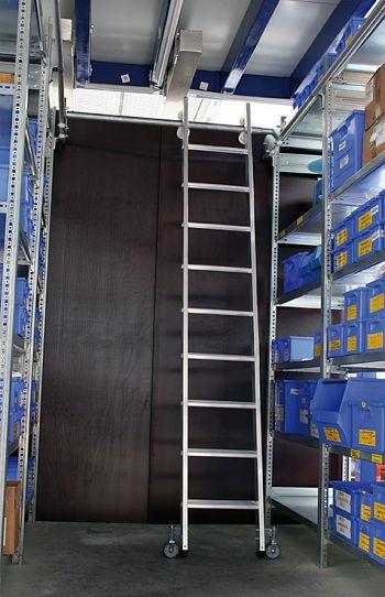Aluminium-Regalleiter für Doppelregal seitlich verschiebbar, 6 Stufen