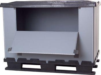 Faltbox 800 x 1200 x 930 mm mit 3 Kufen mit Ladeklappe