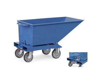 Muldenkipper blau RAL 5007 mit Rollen Inhalt 250 Ltr., Tragkr. 750 kg