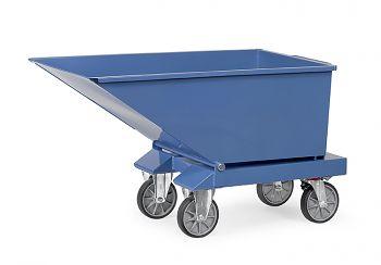 Muldenkipper blau RAL 5007 mit Rollen Inhalt 600 Ltr., Tragkr. 750 kg