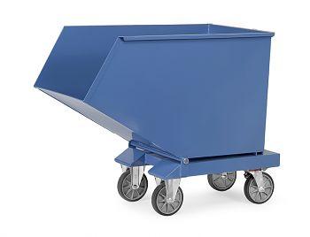 Muldenkipper blau RAL 5007 mit Rollen Inhalt 450 Ltr., Tragkr. 750 kg