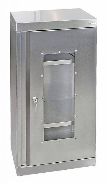Edelstahlschrank mit Sichtfenster Typ Cabinox,HxBxT: 900 x 450 x 400 mm