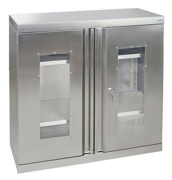 Edelstahlschrank mit Sichtfenster Typ Cabinox,HxBxT: 900 x 900 x 400 mm