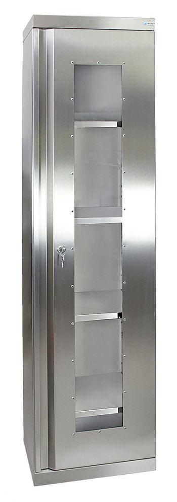 Edelstahlschrank mit Sichtfenster Typ Cabinox,HxBxT:1800 x 450 x 400 mm