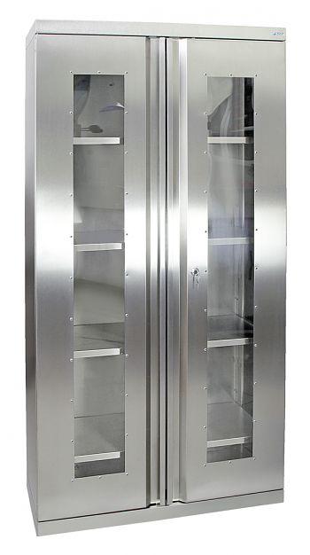 Edelstahlschrank mit Sichtfenster Typ Cabinox,HxBxT:1800 x 900 x 400 mm
