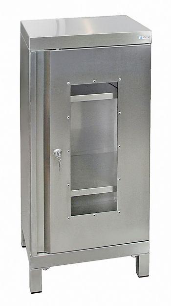 Edelstahlschrank mit Sichtfenster Typ Cabinox,HxBxT:1000 x 450 x 400 mm