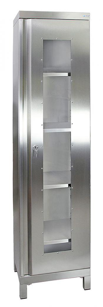 Edelstahlschrank mit Sichtfenster Typ Cabinox,HxBxT:1900 x 450 x 400 mm