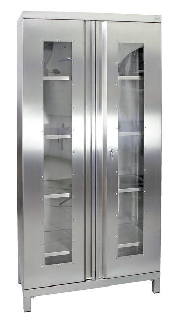 Edelstahlschrank mit Sichtfenster Typ Cabinox,HxBxT:1900 x 900 x 400 mm