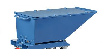 Klappbarer Deckel blau RAL 5007 Kastenmaß LxBxH: 1200 x 652 x 413 mm