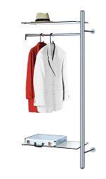 Edelstahl-Garderobe - arte - Anbauelement, HxTxB 1900x400x800 mm