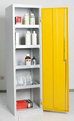 Umweltschrank Basic, 4 Wannen grau/gelb HxBxT 1800 x 500 x 500 mm