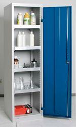 Umweltschrank Basic, 4 Wannen grau/blau HxBxT 1800 x 500 x 500 mm