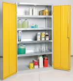 Umweltschrank Basic, 4 Wannen grau/gelb HxBxT1800 x 1000 x 500 mm