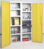 Umweltschrank Basic,7Wannen/3 Schubl. grau/gelb HxBxT1800 x 1000 x 500 mm