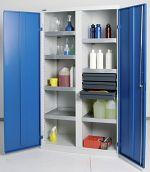 Umweltschrank Basic,7Wannen/3 Schubl. grau/blau HxBxT1800 x 1000 x 500 mm