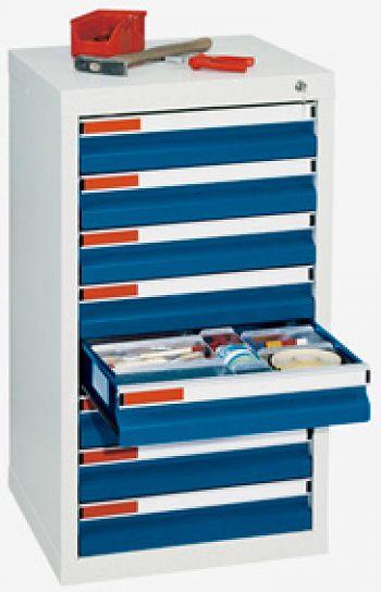 Schubladenschrank lichtgr./enzianblau Anzahl Schubladen 8 x 100 mm