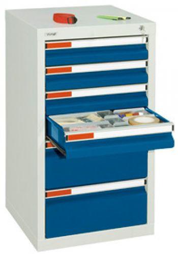 Schubladenschrank lichtgr./enzianblau Anzahl Schubladen 4 x 100/2 x 200 mm