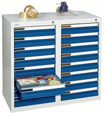 Schubladenschrank lichtgr./enzianblau Anzahl Schubladen 16 x 100 mm