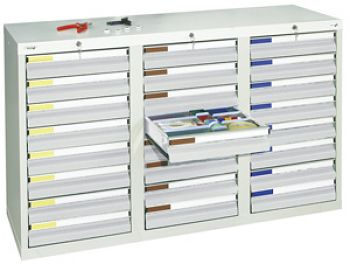 Schubladenschrank lichtgrau/lichtgrau Anzahl Schubladen 24 x 100 mm