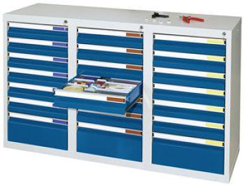 Schubladenschrank lichtgr./enzianblau Anzahl Schubladen 18 x 100/3 x 200 mm