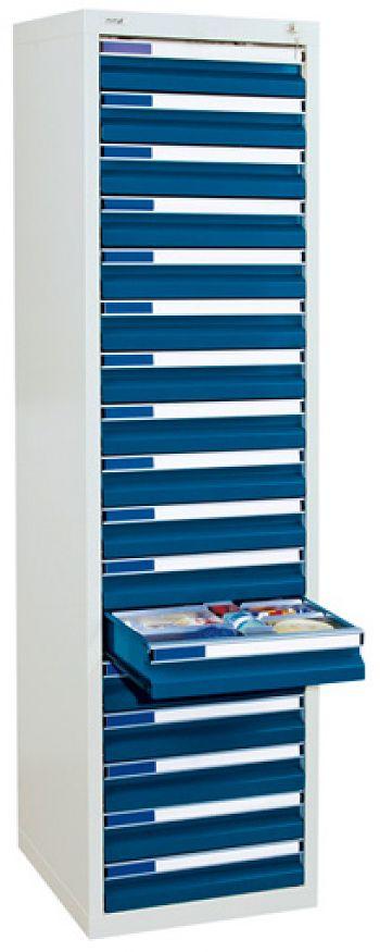 Schubladenschrank lichtgr./enzianblau Anzahl Schubladen 17 x 100 mm