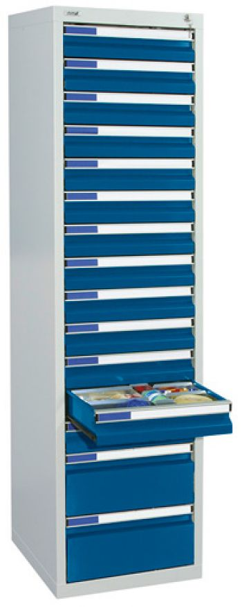 Schubladenschrank lichtgr./enzianblau Anzahl Schubladen 13 x 100/2 x 200 mm