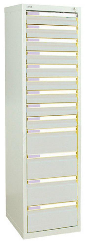 Schubladenschrank lichtgrau/lichtgrau Anzahl Schubladen 9 x 100/4 x 200 mm