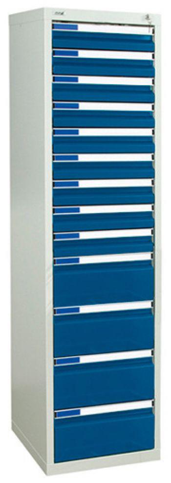 Schubladenschrank lichtgr./enzianblau Anzahl Schubladen 9 x 100/4 x 200 mm