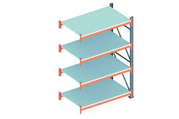 Anbauschwerlastregal vzk./RAL 2001 HxLxT 2700x1825x1100 mm, 4 Böden