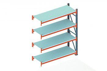 Anbauschwerlastregal vzk./RAL 2001 HxLxT 2700x2225x800 mm, 4 Böden