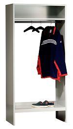Garderobe ohne Schließfächer Lichtgrau, HxBxT 1850 x 870 x 500 mm
