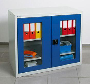 Sichtfensterschrank MovaFlex lichtgr. Enzianblau HxBxT 900 x 1000 x 500 mm