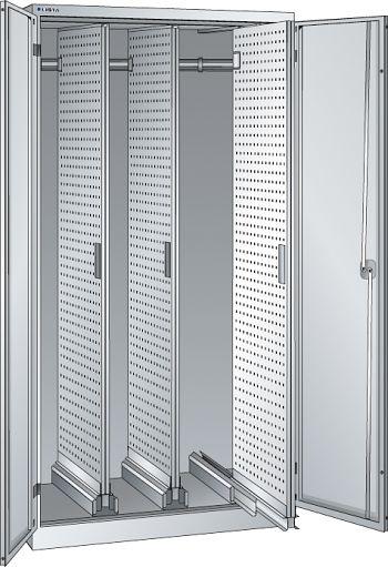 Vertikalauszugschrank, Key Lock m. Flügelt., 3 Auszüge mit Lochwand