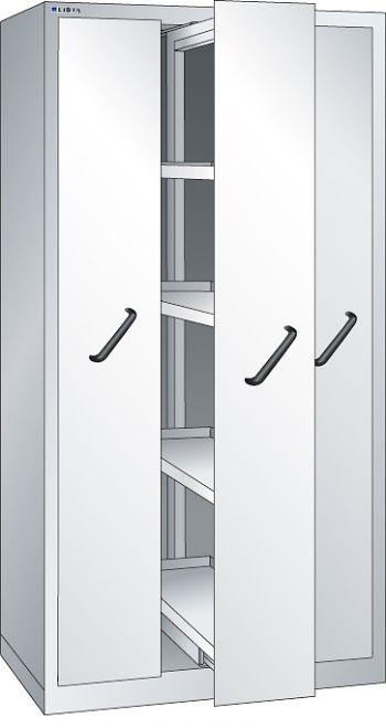 Vertikalauszugschrank, Key Lock mit Frontblenden, 3 Auszüge á 4 Böden