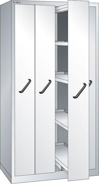 Vertikalauszugschrank, Key Lock mit Frontblenden, 4 Auszüge á 4 Böden
