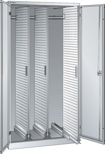 Vertikalauszugschrank, Code Lock m. Flügelt., 3 Auszüge mit Lochwand