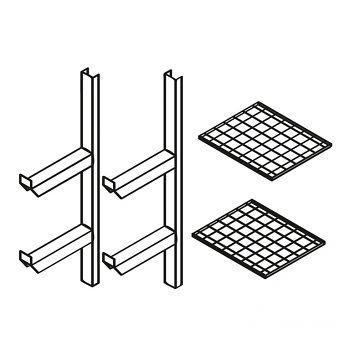 Fassregal kompl. bestehend aus: 2 Stützen mit 2 Gitterrostböden