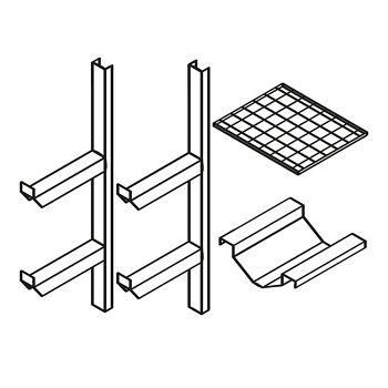 Fassregal kompl. bestehend aus: 2 Stützen mit 1 Gitterrost