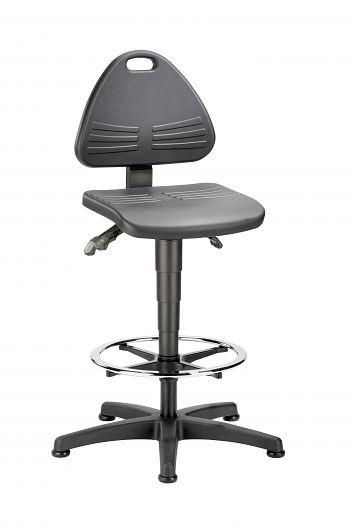 Arbeitsdrehstuhl hohe Version mit Gleitern und Fußring