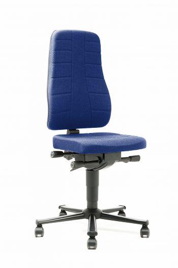 Arbeitsdrehstuhl mit Rollen Stoffpolster blau