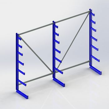 Langgutregal 1-seitig, 3 Ständer H2000xT500xL2700 mm, RAL 5010